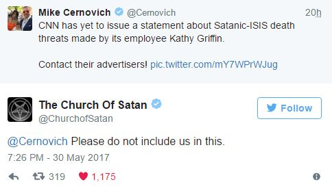 When even the church of Satan aint backing you up. @cnn, @Cernovich, @kathygriffin https://t.co/pPOTupLEzL