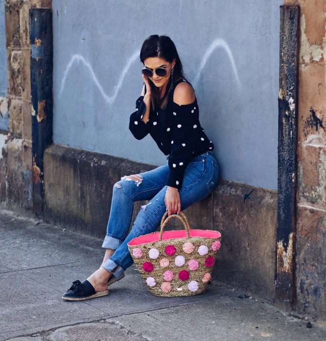 Summer Casual Street Style Look polka dots, levis and Basket bag lafotka