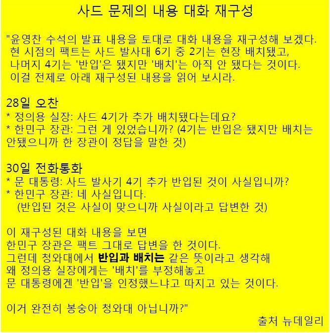 사드 4기 추가 반입 논란 시발의 대화 재구성 -청와대 : 반입과 배치란 단어를 제대로 알지 못했군요        한국말을 제대로 알아듣지 못하니 앞날이 더욱 걱정입니다 https://t.co/7QNqRKCYwm