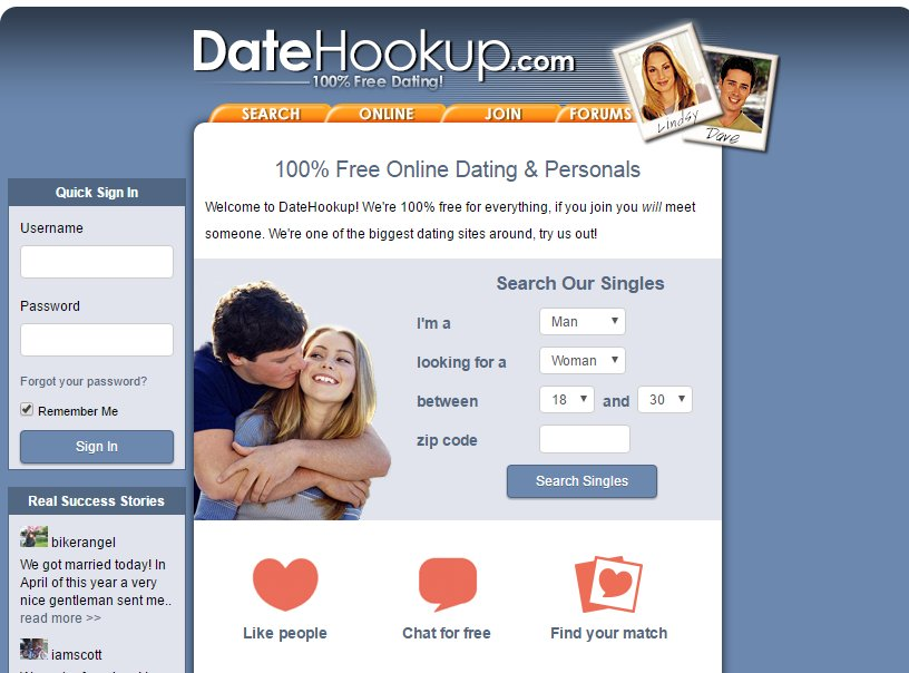 Datehookup sign in page