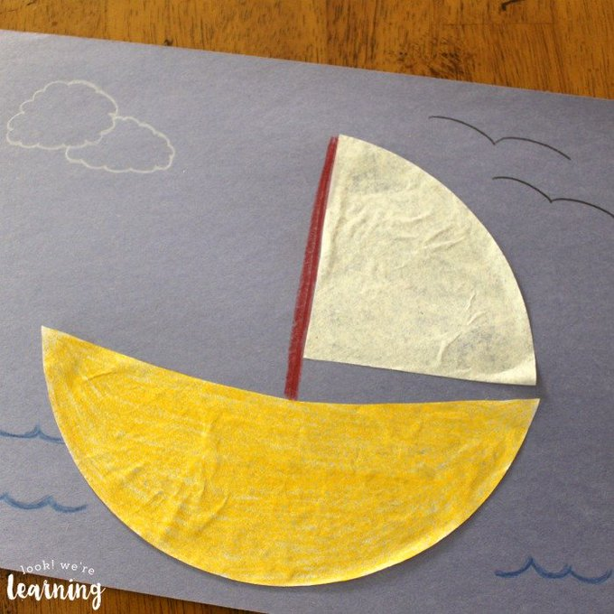 Coffee Filter Sailboat Craft