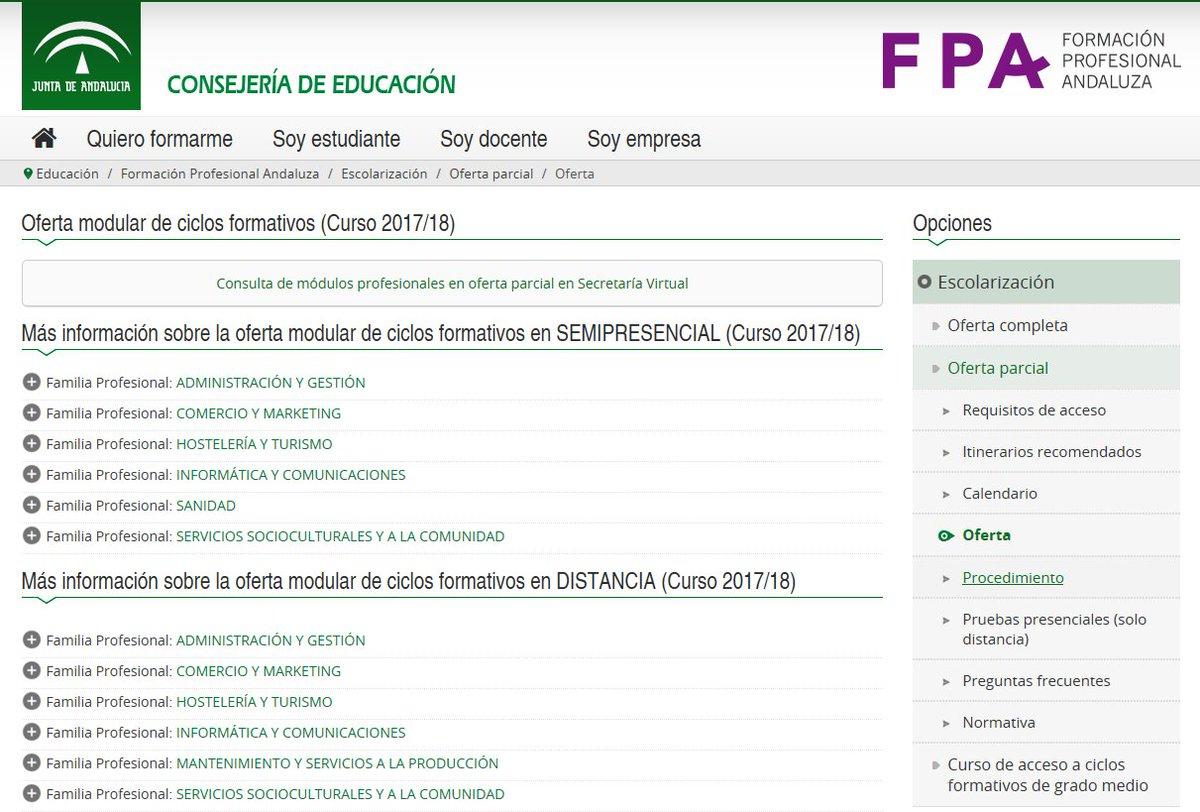 Fp Andaluza På Twitter Escolarización Oferta Parcial