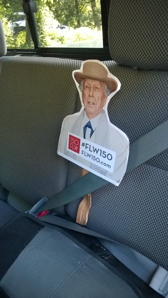 Frank Lloyd Wright belted in for the ride home, he's 150 years old - #FLW150 @bdtaia @frankcunhaiii @AIANJ https://t.co/7nRxbWC6UZ