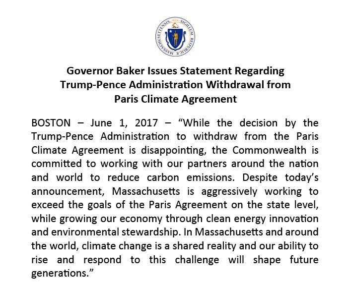 Governor Baker Issues Statement Regarding Trump-Pence Administration Withdrawal from Paris Climate Agreement https://t.co/xyJasSQ5Yt