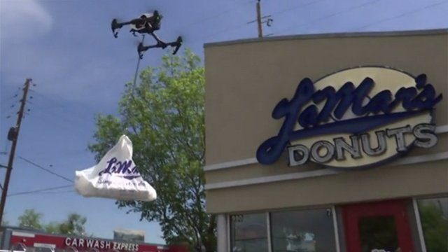 Doughnut delivery by drone shows peek at the future