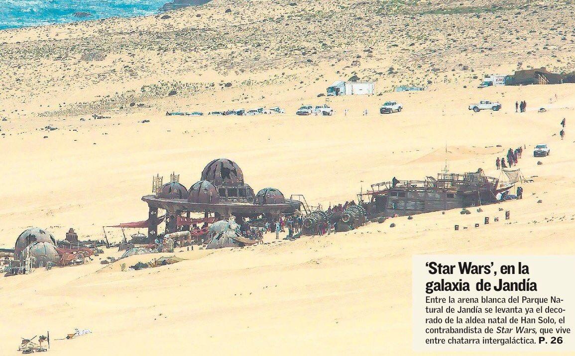 Une photo d'un décor sur le tournage de la Star Wars Story sur Han Solo à Fuerteventura