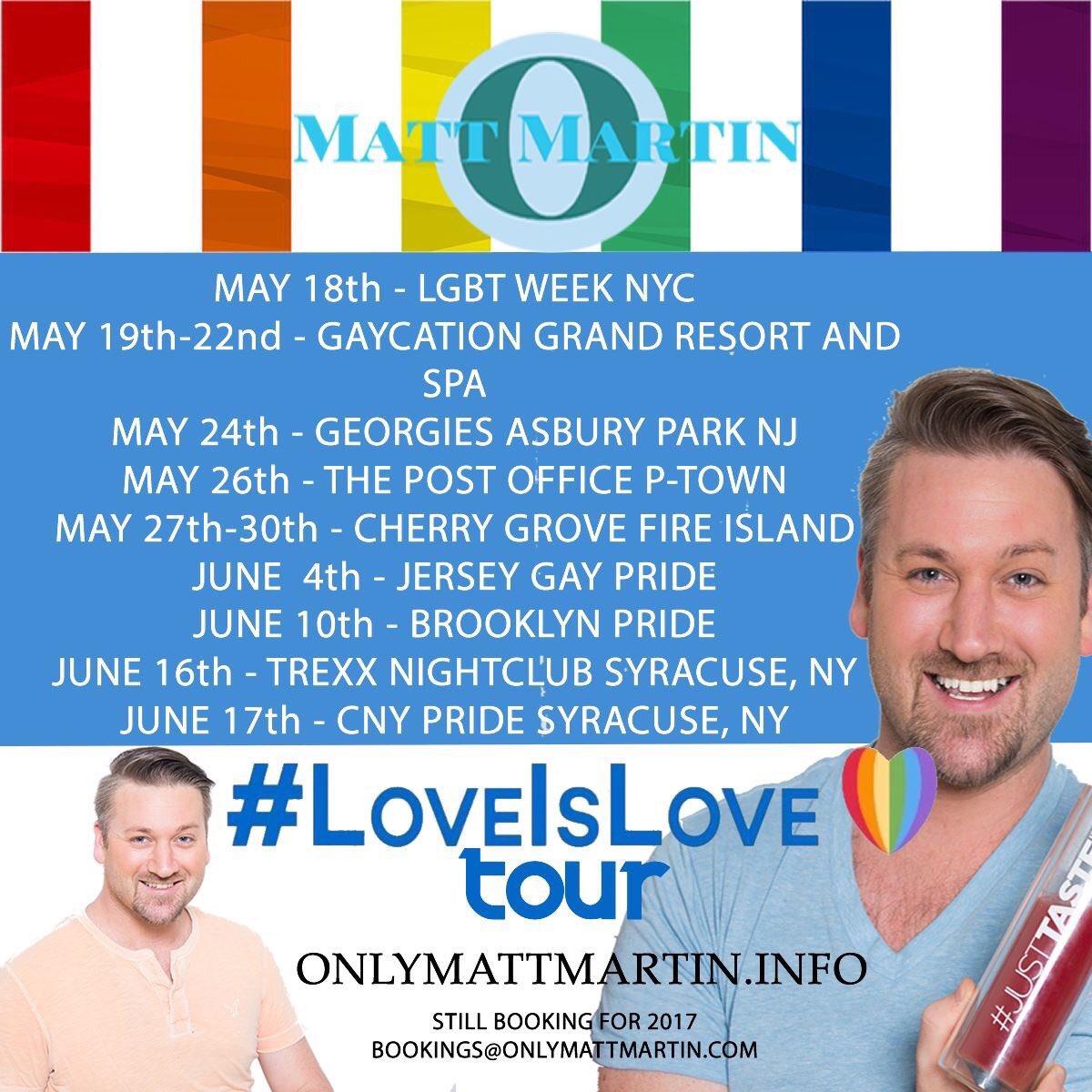 Happy #Pride2017 ! My #LoveIsLove Tour continues this weekend @JerseyPrideInc https://t.co/jvrhaJ8pUk https://t.co/pHQzvkcy5q