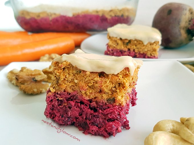 Raw Carrot Beetroot Cake with Cashew Frosting Recipe