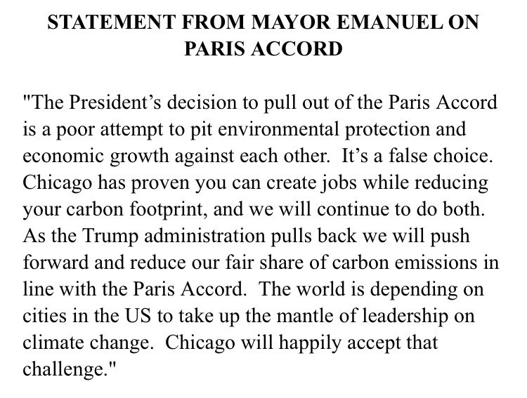 As the Trump administration pulls back, Chicago will push forward & reduce our fair share of carbon emissions in line with the .#ParisAccord