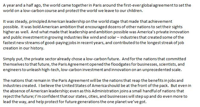 JUST IN: Statement from President Barack Obama on the Paris Climate Accord: