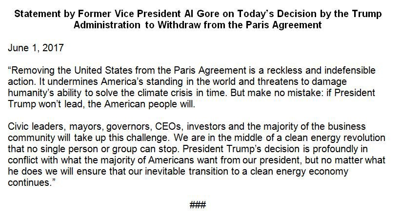 """""""Reckless and indefensible"""" - @algore on @POTUS withdrawal from #ParisAccord. Full statement, first on @NBCnews https://t.co/YoeMZq1LQp"""