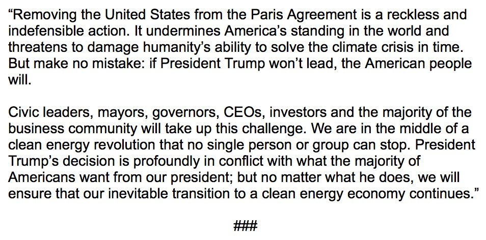 My statement on Today's Decision by the Trump Administration to Withdraw from the Paris Agreement: https://t.co/eDEFv5b1nS