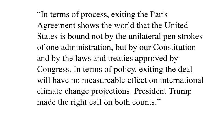 President Trump made the right call on the #ParisClimateAccord. My statement: https://t.co/IBPNgBVAtF