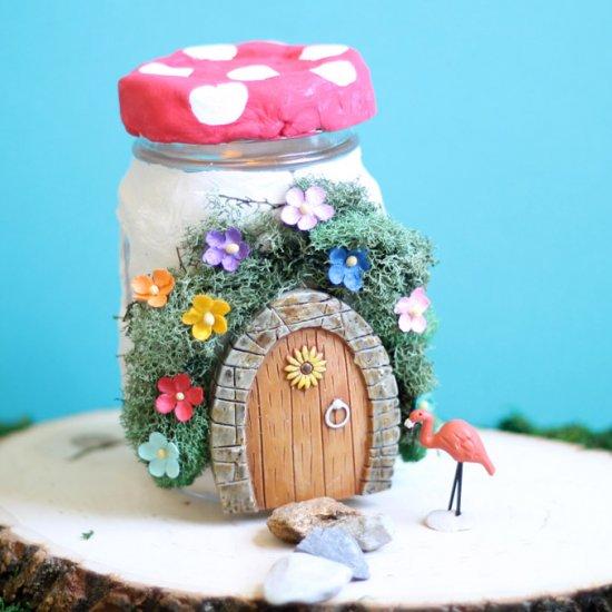 mason jar fairy house