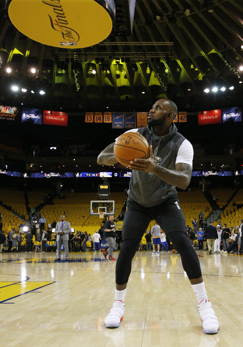 386a24184eed7 Lebron james in the nike zoom lebron soldier 11 pe before game 1 of the   nbafinals