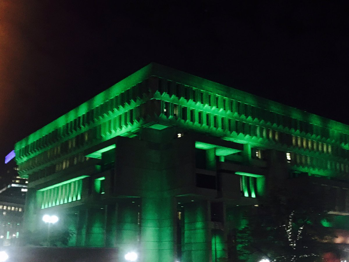 #Boston City Hall is lit green tonight, for our planet, and the #ParisAccords https://t.co/gxYLSOo4Uj