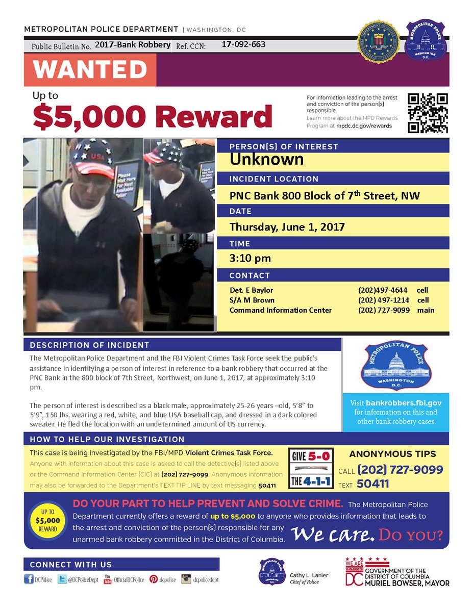 Bank Robbery Bank : MPD requests public assistance