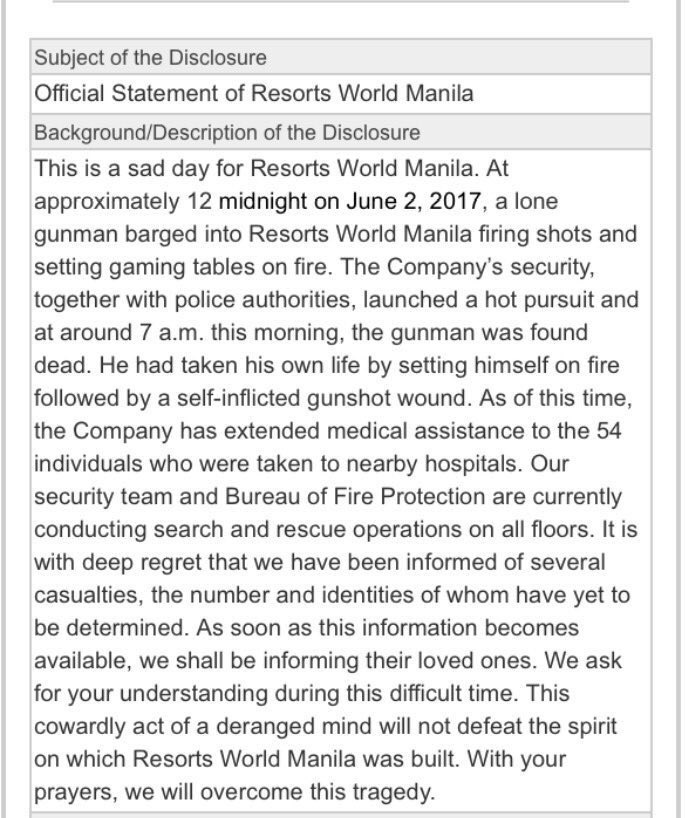 Official statement of Resorts World Manila on last night's attack. https://t.co/Jkkjw0W3YA