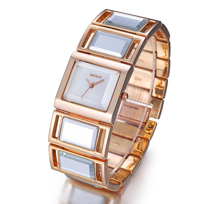 Women's Bracelet Watches with Colorful Shell & Gold Mirror Strap