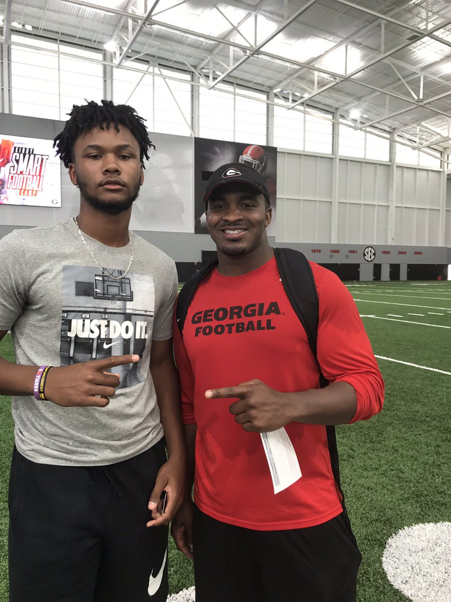 Tylan Grable (left) at Kirby Smart Football Camp at UGA on Thursday, June 1st - Class of 2018 QB (Photo from Tylan Grable/Twitter)