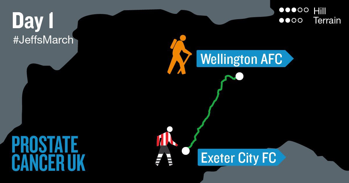And so it begins...  @OfficialECFC ➡️ Wellington AFC  Follow every step of #JeffsMarch Day 1 (& beyond) right here.  https://t.co/83tp1D1i4g https://t.co/uq8nNibyRW