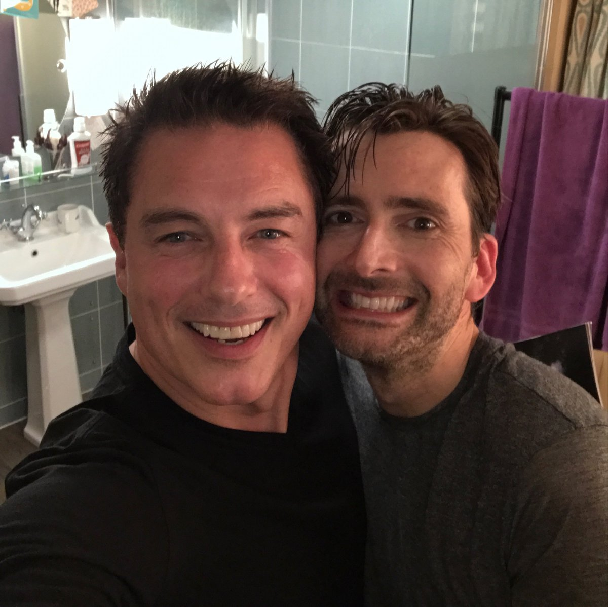 David Tennant with John Barrowman (who watched Don Juan In Soho)