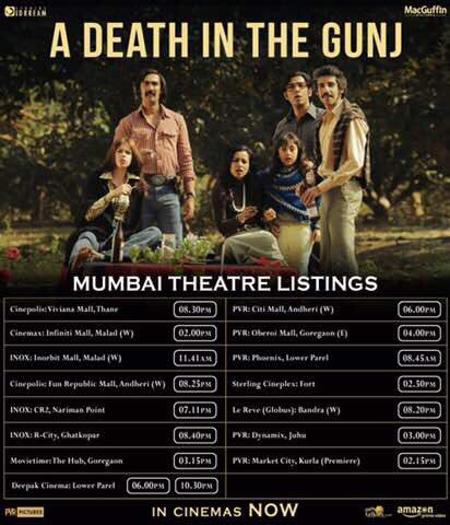 Here are the show times for @ADeathInTheGunj 👀 https://t.co/6OlBJuTUwN