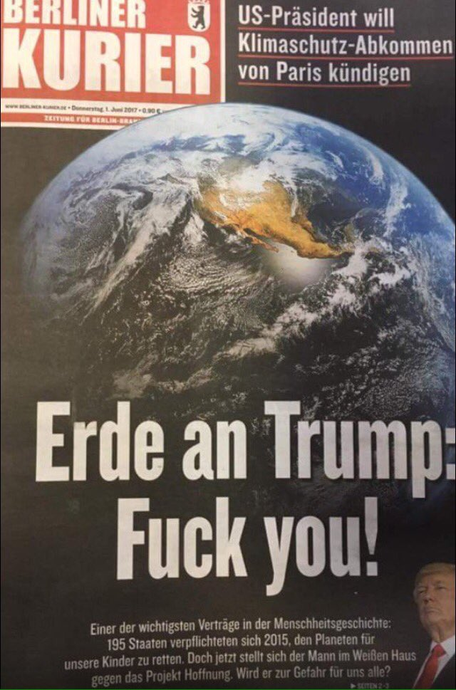 Very much enjoying the German press at the moment. 'Earth to Trump...'