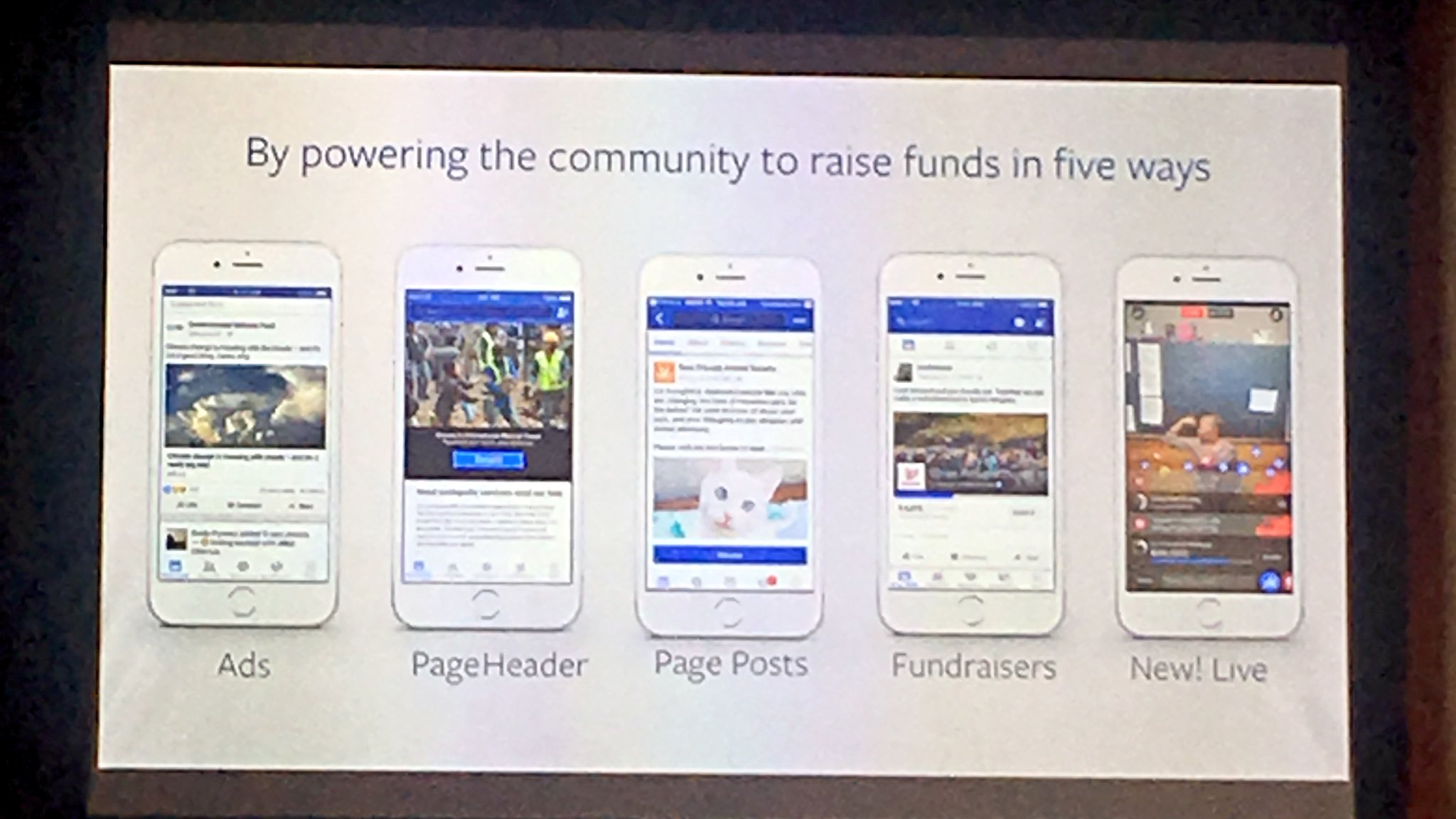 FB fundraising tools being tested in the US, including the newest = LIVE. Roll out beyond US is planned #FBsocialgood https://t.co/L72wiCwY7v