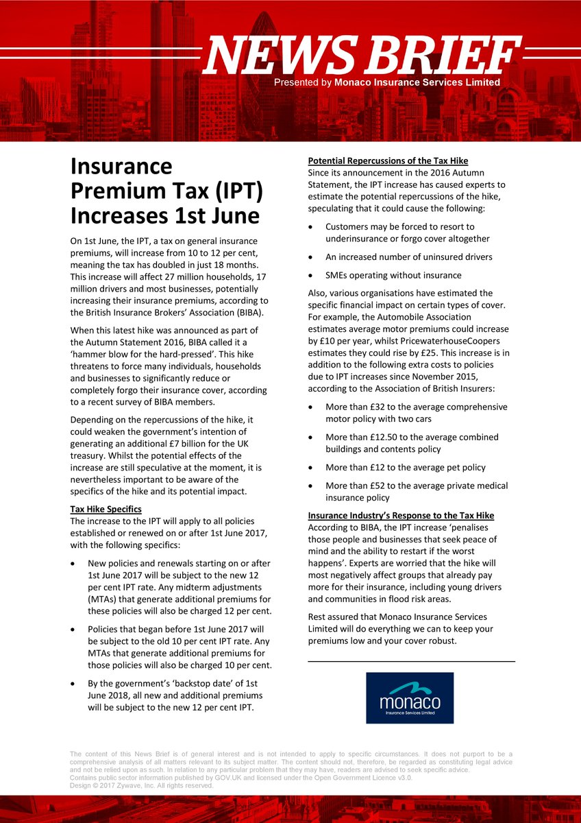 NEWS BRIEF: Latest changes on Insurance Premium Tax (IPT) Increases 1st June 2017