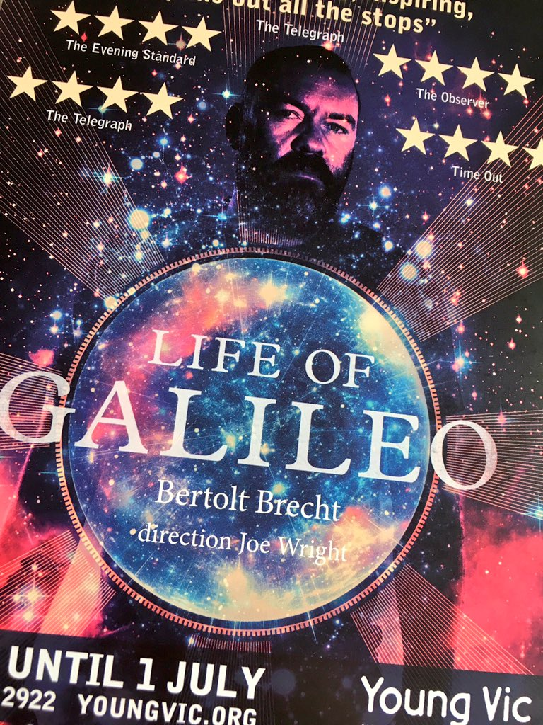 Brilliant evening at @youngvictheatre yesterday, watching Joe Wright's beautiful and dynamic production of #LifeofGalileo, with great music. https://t.co/urnEDQFt1T