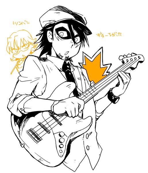 らくがき。某CDのジャケで虎徹さんかわいかったなーと思って描いた後でCDジャケ絵見たらギターが違ったという