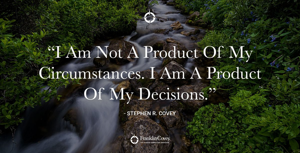 "#QOTD ""I am not a product of my circumstances. I am a product of my decisions."" - Stephen R. Covey https://t.co/T6QDYISoMo"