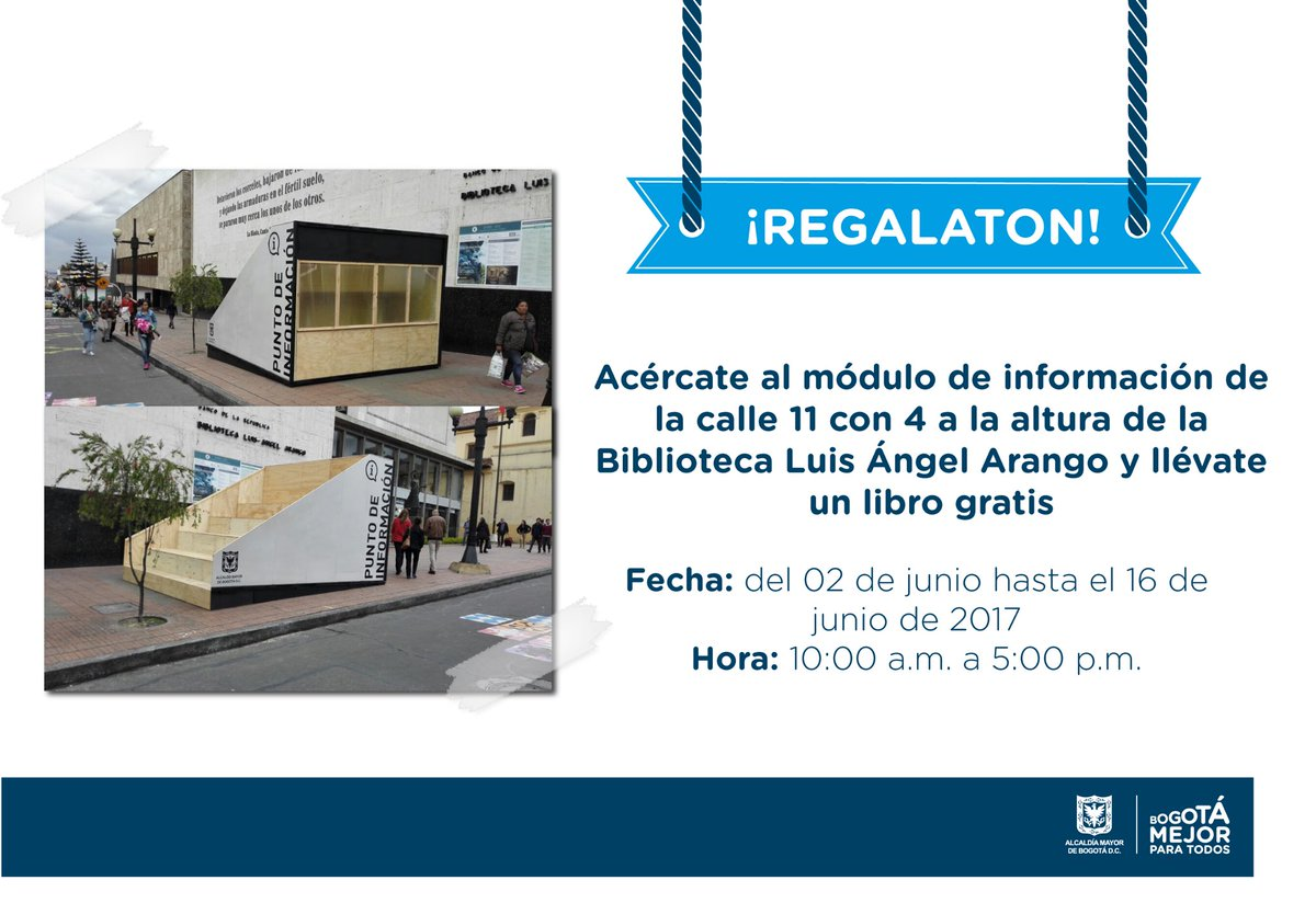 ¡Regalaton!Acércate al módulo de información de la calle 11 con 4 y llévate un libro gratis! #GózateElCentro https://t.co/rqcCs2frXZ