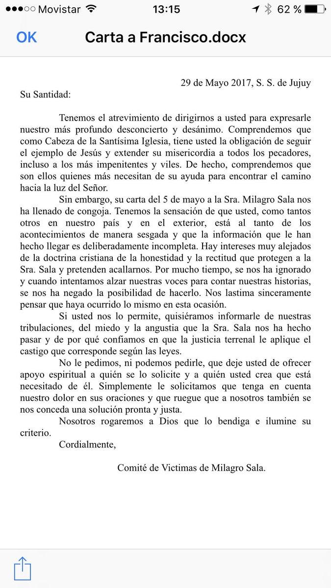 Carta de las víctimas de Milagro Sala al papa Francisco. Por vavor divulgar y dar RT , esta gente necesita de nosotros.