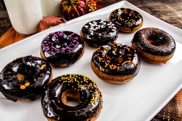 Gingerbread Doughnut Recipe with Halloween Sprinkles