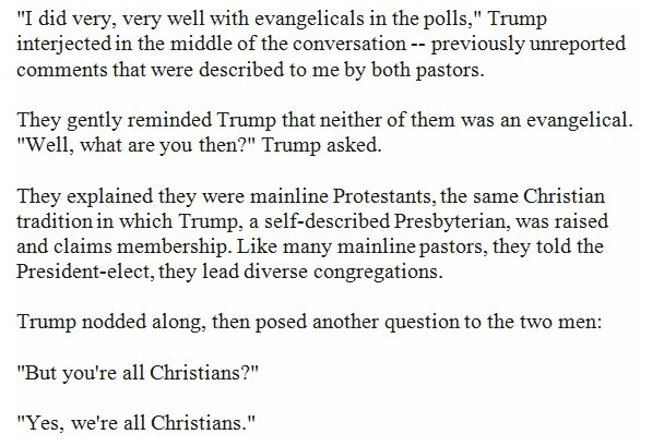The president told mainline Protestant pastors he did great with evangelicals. Then asked if they were Christian. https://t.co/XghYKhQxIc
