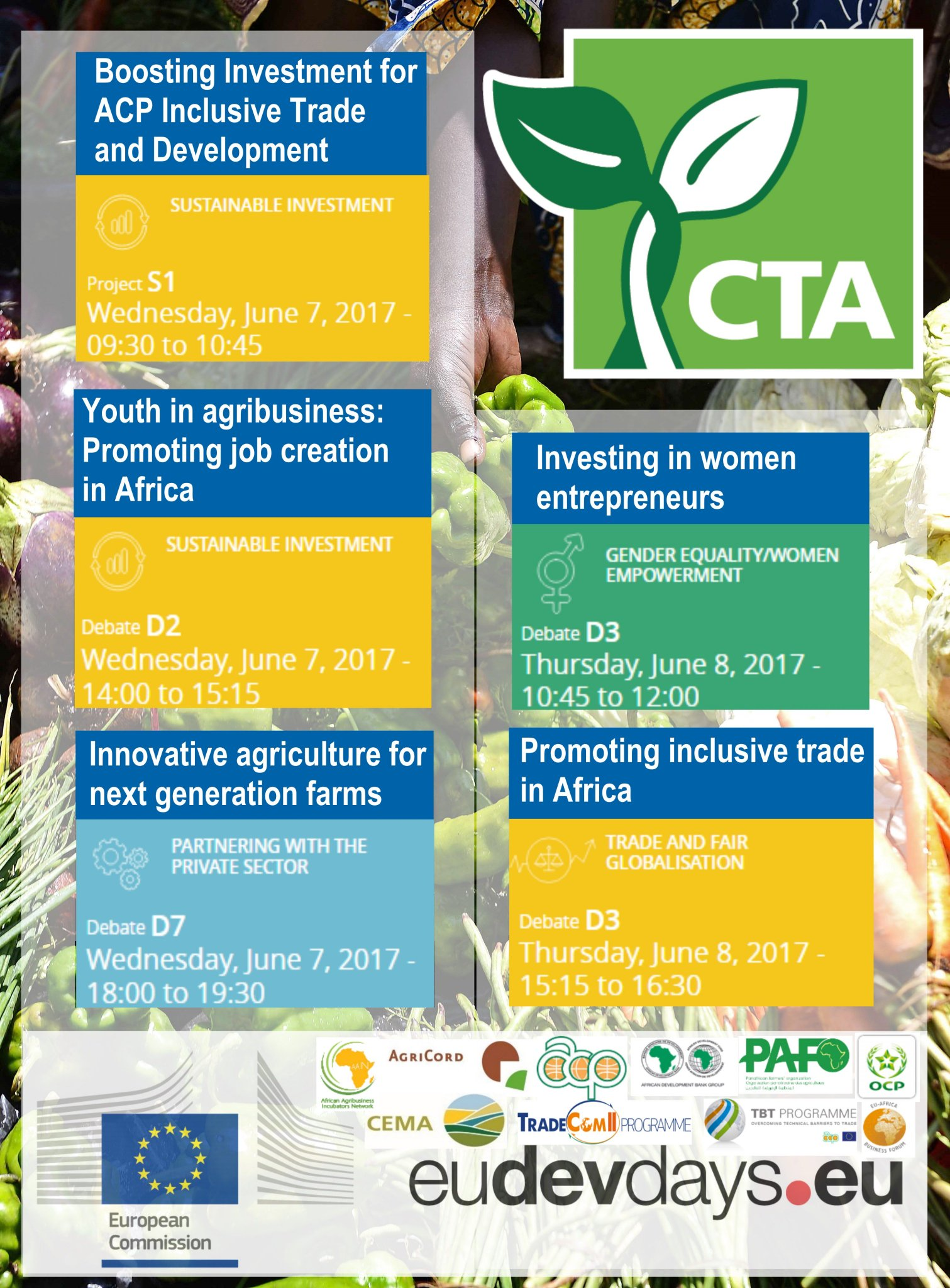 Excited about the #EDD17? Us too! Join 5 key debates on the future of agriculture w @CTAflash & partners More Info ➡️https://t.co/5ruFq3bZjd https://t.co/FhwwQ6jW3g