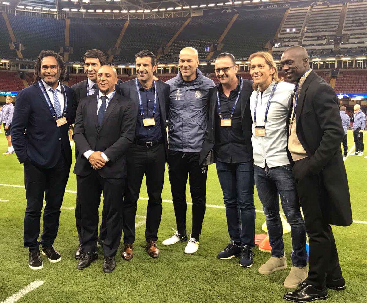 📸🌟⌛ #Zidane and some familiar faces in Cardiff. Zidane y caras muy familiares en Cardiff. Zidane et d'autres visages familiers à Cardiff.