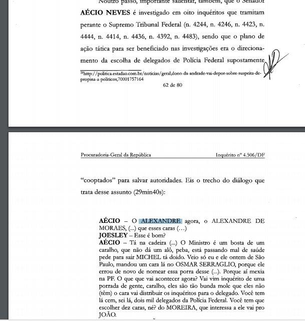 Denúncia de Janot ao STF contra Aécio cita o ministro Alexandre de Moraes, q integra 1ª Turma da corte q vai analisar a acusação