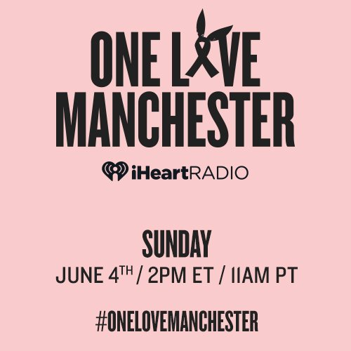 We are bringing to you live the historic #OneLoveManchester concert on Sunday at 2PM ET. ❤️ bit.ly/iHROneLoveManc…