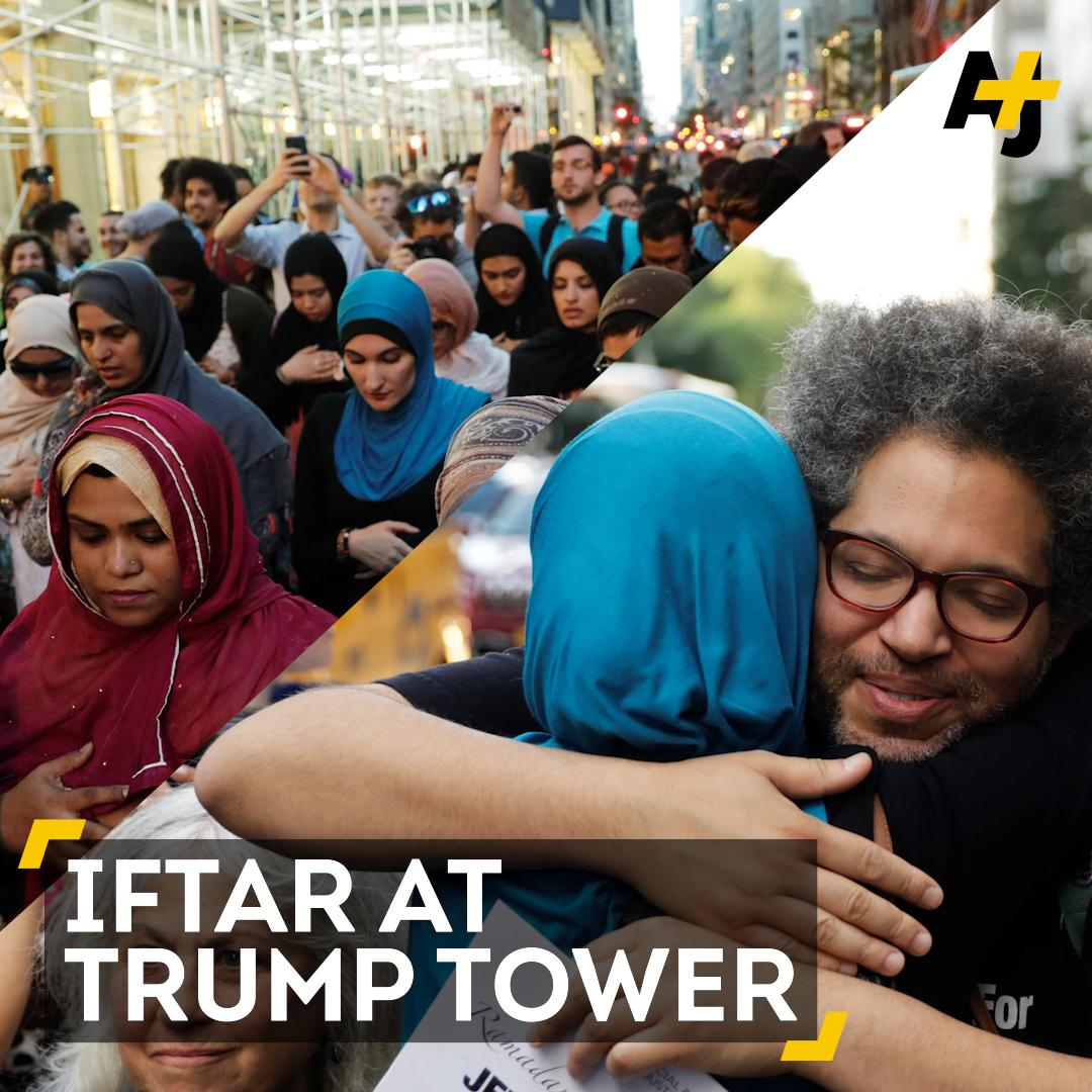 """This is what real America looks like.""   Muslim groups held prayer and Iftar outside Trump Tower."