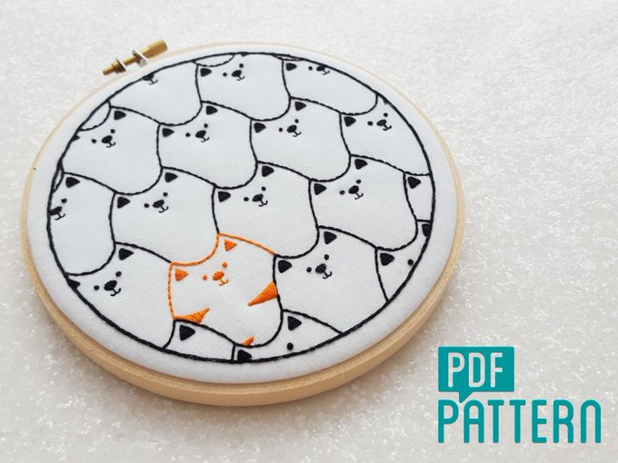 Cats Embroidery Pattern, Cat DIY Embroidery PDF Pattern for Instant Download, Black Cats DIY Hoop Art Pattern, Cat Needlepoint Pattern