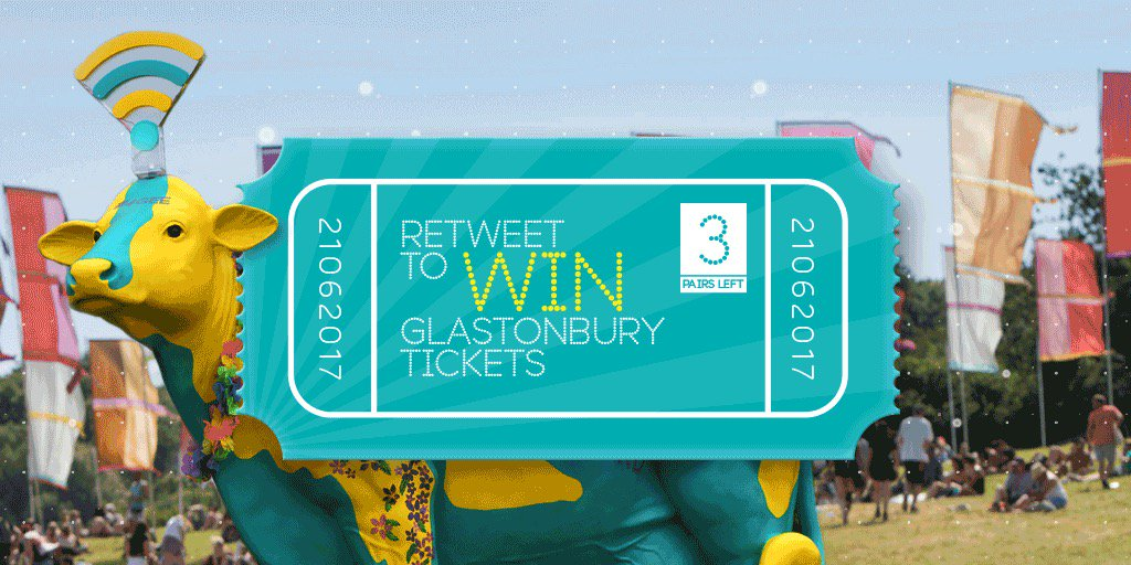 #WIN TICKETS TO #GLASTONBURY. RT to win. There will be not 1, but 3 winners tomorrow! 😀 #GetIntoGlasto