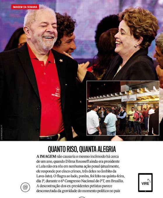 Segundo a Veja dessa semana, o novo crime cometido por Lula e Dilma foi... rir. Imperdoável, né?