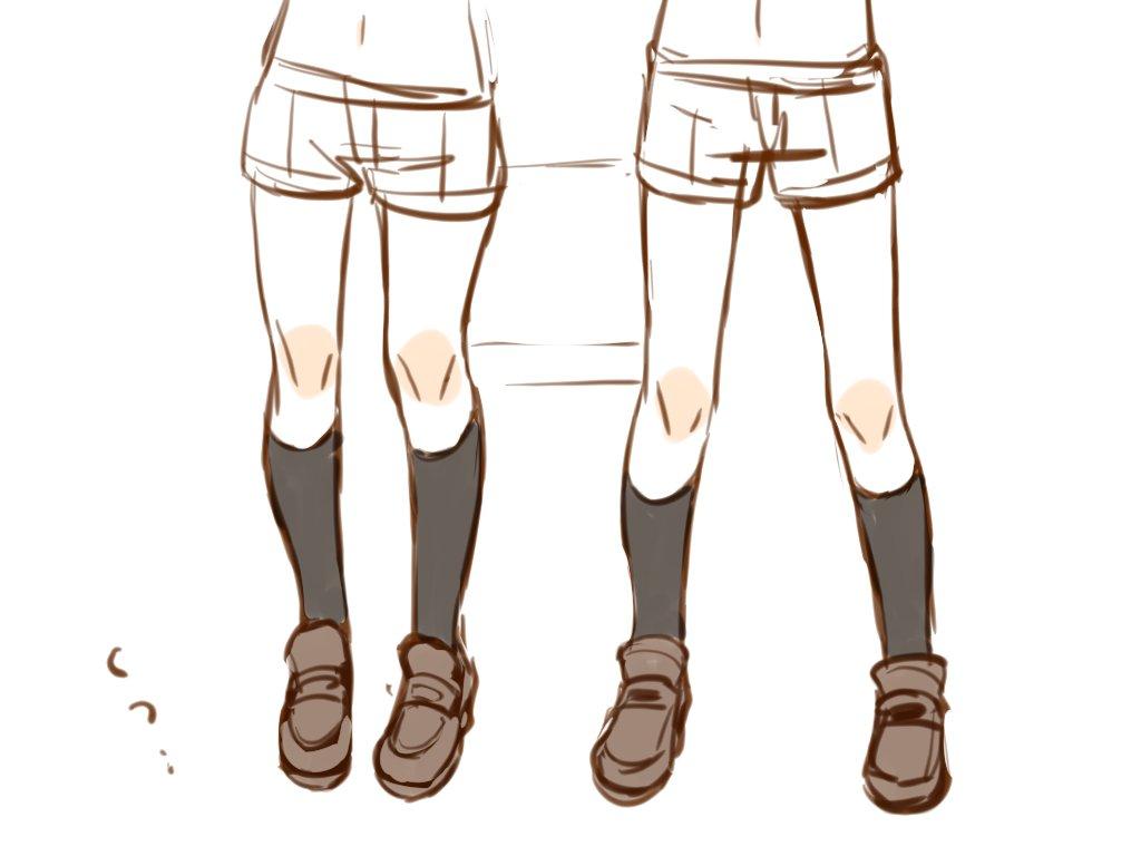 だいぶ昔本アカで流したの出てきた  一枚目は、なんとなくひざの位置高いと女の子、低いと男の子っぽく見える気がするってやつ