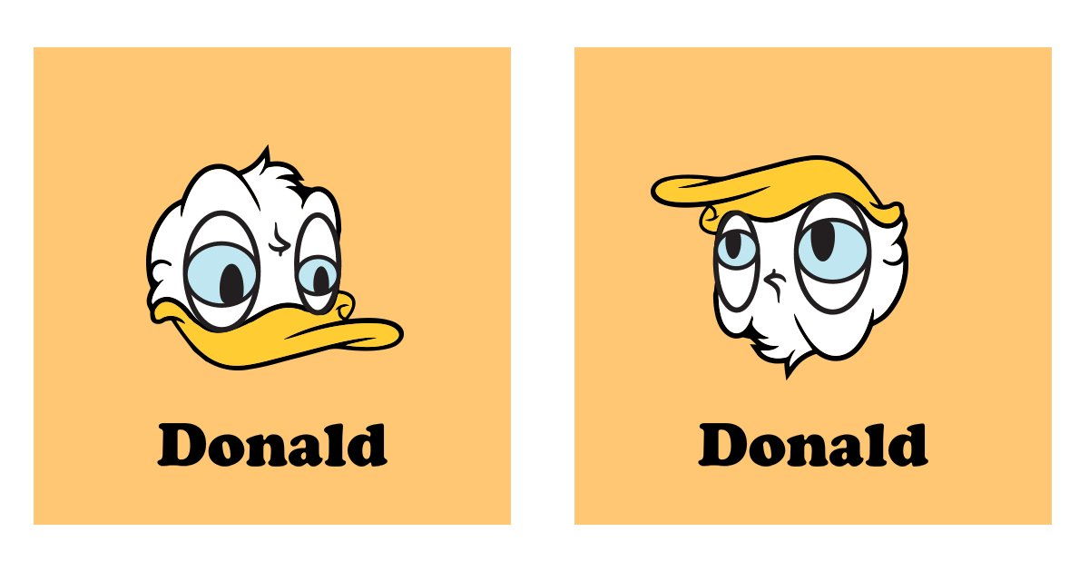 Who knew? If you turned Donald Duck upside down, you get the other Donald.
