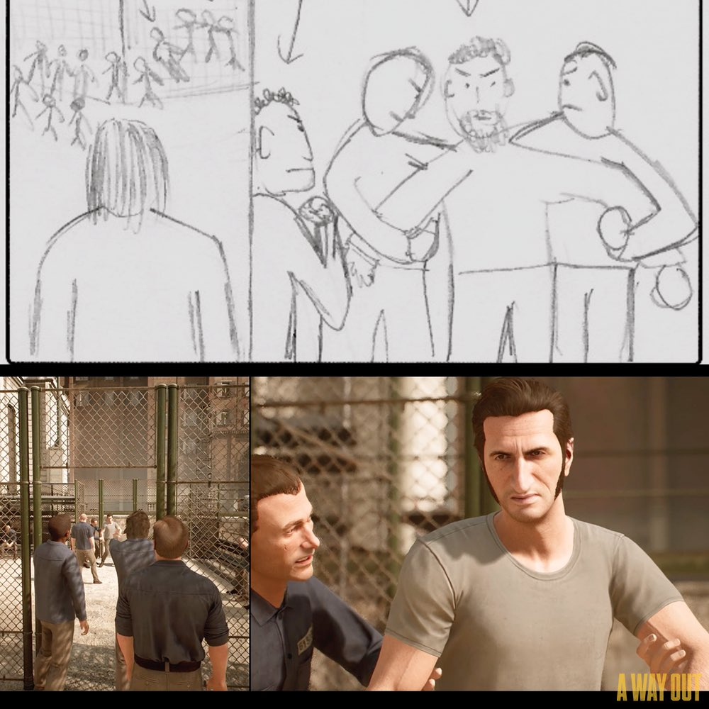 "Josef Fares on Twitter: ""Look at my sketches of A Way Out and the final😂… """