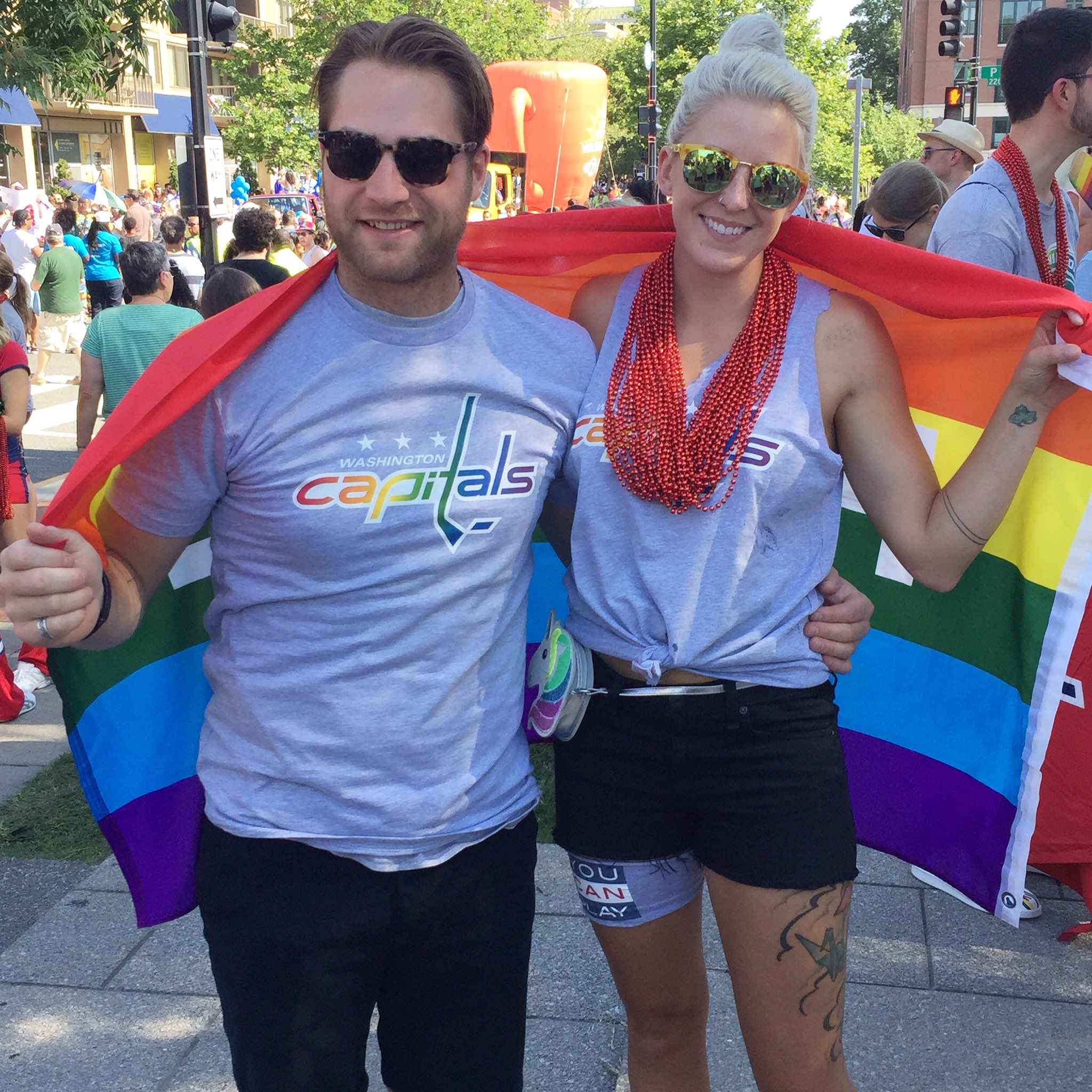 Washington Capitals On Twitter Awesome To Have Braden Holtby And His Wife Brandy At Today S Capitalpridedc Parade Dcpride2017 Rocktherainbow