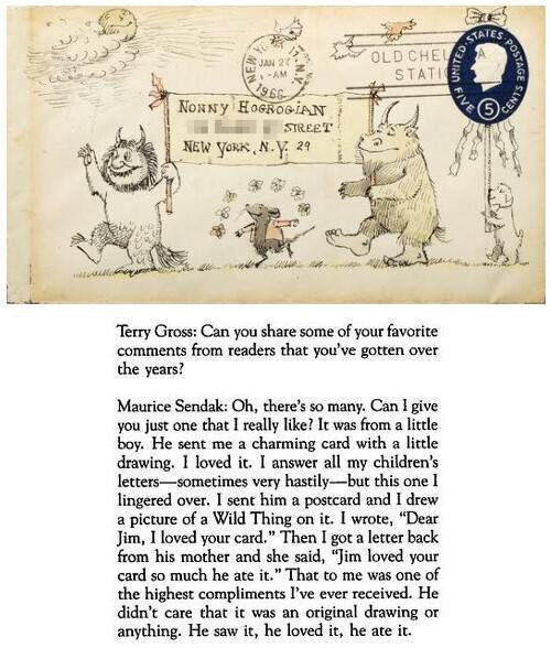 Annual reminder, on the day of his birth, that Maurice Sendak illustrated envelopes when responding to fans. Also, this anecdote... https://t.co/GNtnVmkSZt